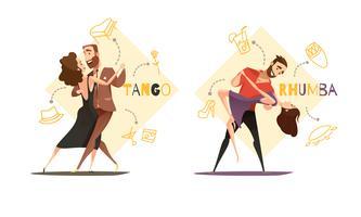 Paires de danse 2 modèles de dessins animés rétro