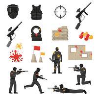 jeu d'icônes de paintball vecteur