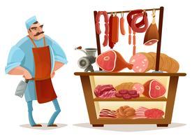 Concept de dessin animé de boucher vecteur