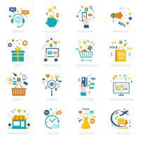 Shopping en ligne Icons Set