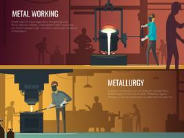 Fonderie de métallurgie industrielle 2 bannières rétro vecteur
