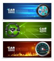 Bannières horizontales de service de voiture vecteur
