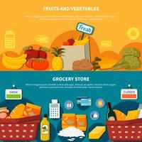 Fruits Légumes Epicerie Supermarché Bannières vecteur