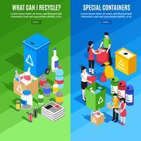 Bannières verticales de recyclage des ordures vecteur
