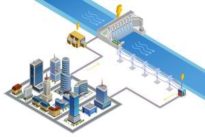Affiche isométrique de la centrale hydroélectrique vecteur