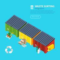 Affiche isométrique de tri des déchets