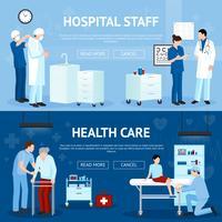 Bannières horizontales de traitement médical vecteur