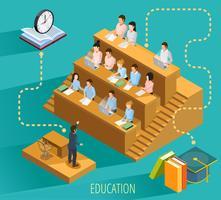Affiche isométrique de University Education Concept vecteur