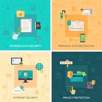 Protection des données 4 icônes plates Square vecteur