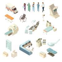 jeu d'icônes d'hôpital isométrique