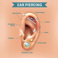 Affiche de fond de types de piercing d'oreille vecteur