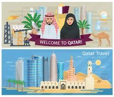 ensemble de bannière de qatar