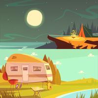 Ensemble de bannières de randonnée et de camping