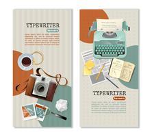 Bannières verticales de journaliste à la machine à écrire vecteur
