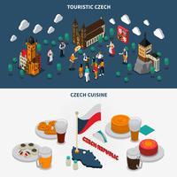 République tchèque 2 bannières touristiques isométriques