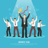 Affiche plate du succès de l'équipe commerciale vecteur