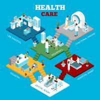Affiche de composition isométrique des départements de soins de santé hospitaliers vecteur