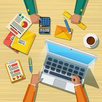 Affiche plate de la longue réunion d'affaires