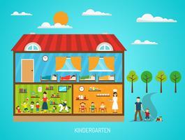 Affiche plate de jardin d'enfants vecteur