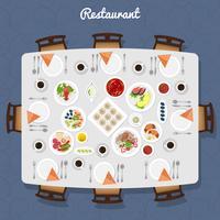 Restaurant vue de dessus de table vecteur