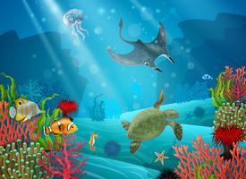 Paysage sous-marin de dessin animé vecteur