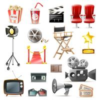 Cinéma Cinéma Collection D'icônes Rétro vecteur