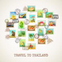 Affiche de carte postale de la Thaïlande vecteur