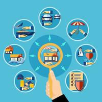 Concept de conception de diagramme plat d'assurance