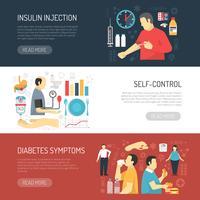 Symptômes du diabète Bannières horizontales vecteur