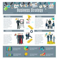 Jeu d'infographie de stratégie commerciale vecteur