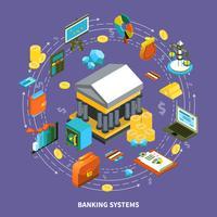 Systèmes bancaires Composition isométrique ronde vecteur