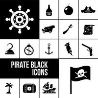 ensemble d'icônes pirate noir