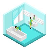 Personnes, nettoyage, salle de bains, illustration vecteur