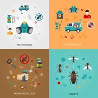Exterminator Pest Contro 4 icônes plates vecteur