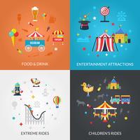 Parc d'attractions 4 icônes plat carré vecteur