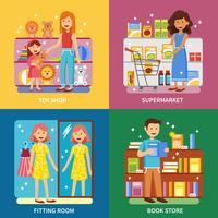 Shopping Concept 4 Icônes Bannière Carré