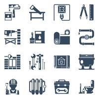 Collection d'icônes noires de réparation à domicile