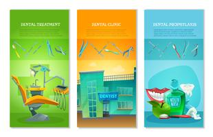 Dentist 3 Flat Vertical Banners Set