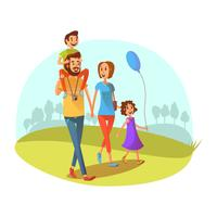 Illustration de week-end en famille