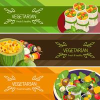 Jeu de bannières horizontales de nourriture végétarienne vecteur