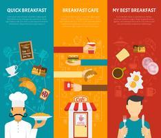 Jeu de bannières verticales de petit déjeuner