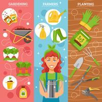 agriculteurs jardinage 3 bannières plat