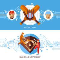 Ensemble de bannières de baseball vecteur