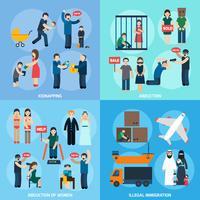 Trafic d'êtres humains 4 icônes plates carrés