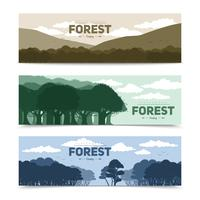 Ensemble de bannières de forêt vecteur