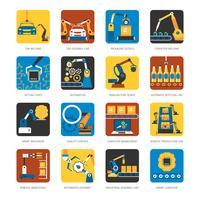 Ensemble d'icônes plat ligne d'assemblage industrielle