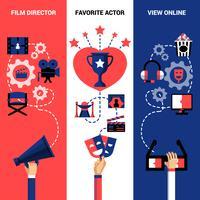 Bannières du festival de cinéma vertical vecteur