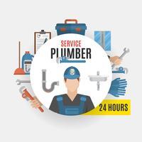 Concept de conception de service de plombier vecteur