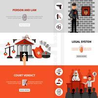 Ensemble de bannières plates système juridique juridique