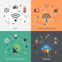 Technologie sans fil 4 icônes carrées